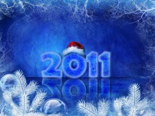 обои Логотип 2011 с кепкой Деда Мороза фото