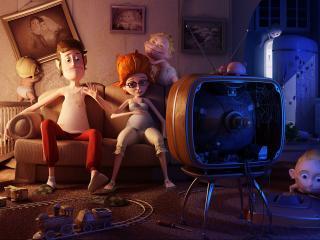 обои Мультяшная семейка за просмотром телевизора фото