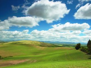 обои Зеленая равнина под облаками фото
