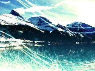 обои Отблески солнца в горах фото
