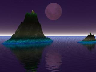 обои Луна и два острова фото