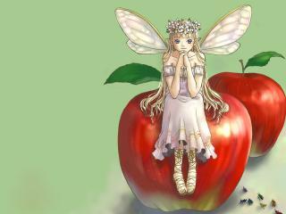 обои Архангел на красном яблоке фото