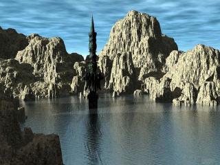 обои Таинственное строение в заливе фото