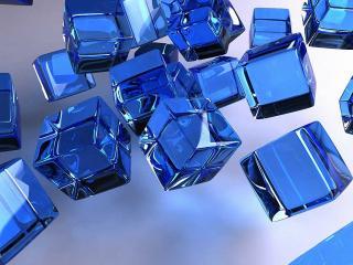 обои Кубики из синего стекла фото