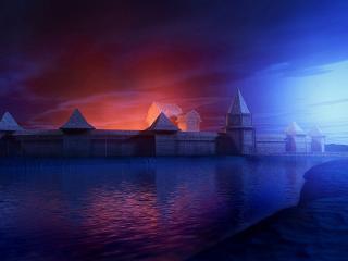 обои Крепостная стена,   окруженная водой фото