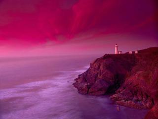 обои Маяк в розовом море фото