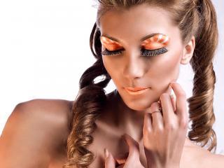 обои Макияж лица - Артистичный оранжевый фото