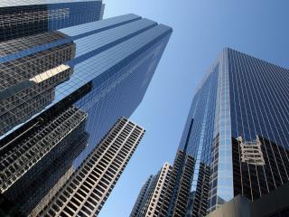 обои Одинаковые небоскребы в мегаполисе фото