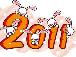 обои Белые зайчики на логотипе 2011 фото