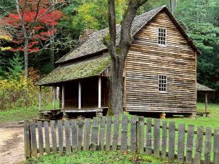 обои Дом с оградой в лесу фото