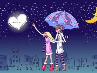 обои Love is - прогулки под дождем фото
