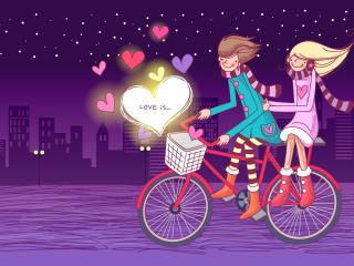 обои Love is - езда на велосипеде по ночному городу фото