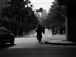 обои По городу на велосипеде фото