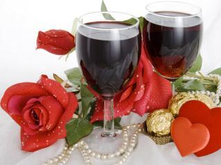обои Два бокала красного вина фото