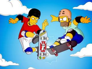 обои Tony Hawk против Гомера Симпсона фото