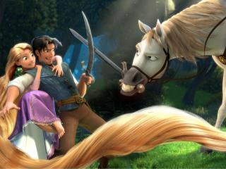 обои Рапунцель - битва с конём фото