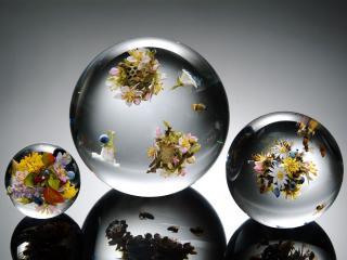 обои Три шара с цветами фото