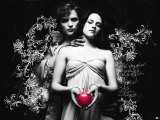 обои Белла и Эдвард в черно-белом исполнении фото