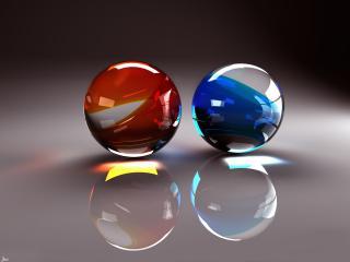 обои Синий и красный шары фото
