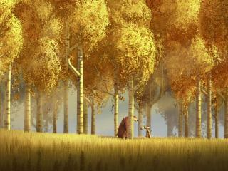 обои Осенний пейзаж с березками и готовый к путешествиям медведь фото