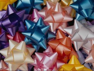 обои Цветные подарочные банты в ассортименте фото