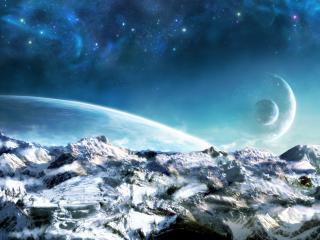обои Планеты на фоне каменной пустыни фото