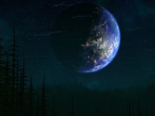 обои Планета повисла над лесом фото