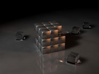 обои Разобранный стеклянный куб фото