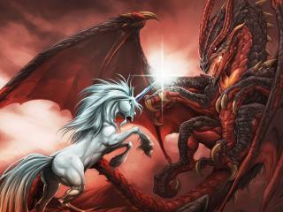 обои Однорогий конь в бое с драконом фото