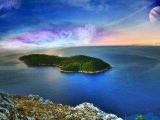 обои Зеленый остров в море фото