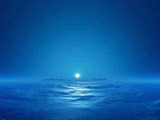 обои Луна над долиной. Туманная ночь фото