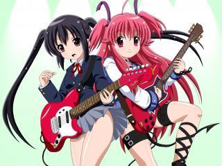 обои Девушки и гитары фото