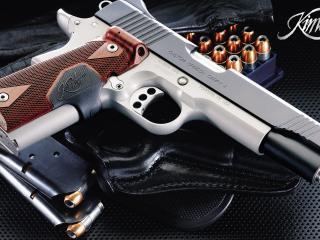 обои Пистолет Kimber с кобурой и патронами фото