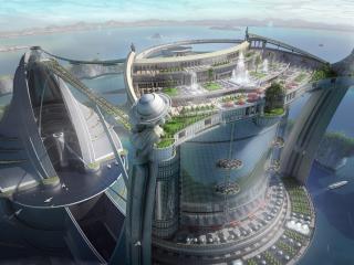 обои Город будущего на башне фото
