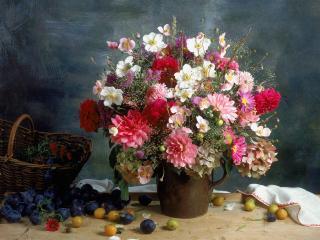 обои Цветы и фрукты на столе,   фото натюрморт фото