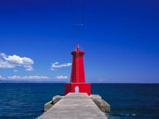обои Ярко красная башня маяка фото