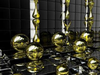 обои Золотые шары на зеркальном полу фото