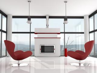 обои Интерьер современной комнаты отдыха у камина фото