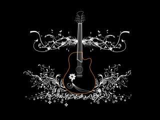 обои Черная гитара на бельм узоре фото