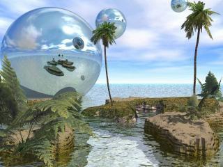 обои Огромные летающие пузыри фото