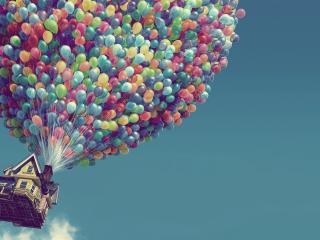 обои Домик на воздушных шариках фото