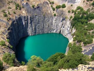 обои Зелённое озеро с высоты фото