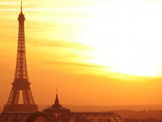 обои Золотой закат в Париже фото