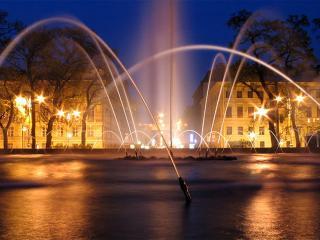 обои для рабочего стола: Красивый ночной фонтан