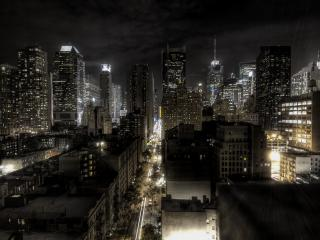 обои Золотой Нью-Йорк ночью фото