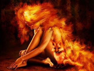 обои Картина девушки в огне фото