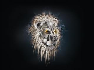 обои лев в металле фото