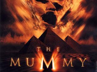обои Призрак Мумии на фоне трех пирамид фото