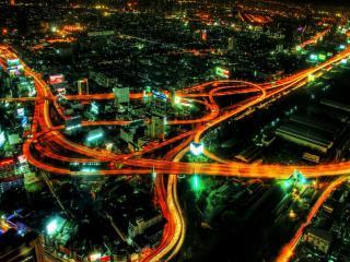 обои Ночной мегаполис вид сверху фото