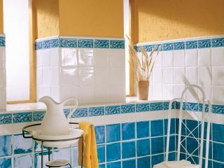 обои Желто-голубая ванная комната фото